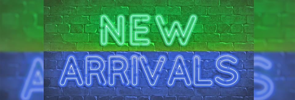 "Brick wall with neon signage spelling out ""New Arrivals"" in Eastern Gateway blue and green in the center of the slideshow banner."